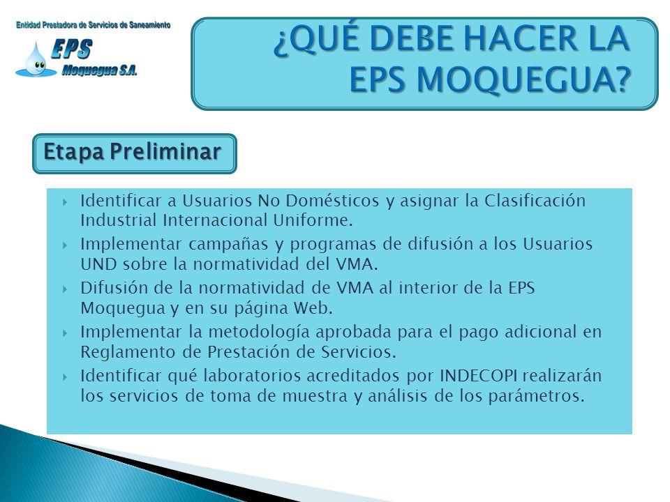 Etapa Preliminar Identificar a Usuarios No Domésticos y asignar la Clasificación Industrial Internacional Uniforme. Implementar campañas y programas d