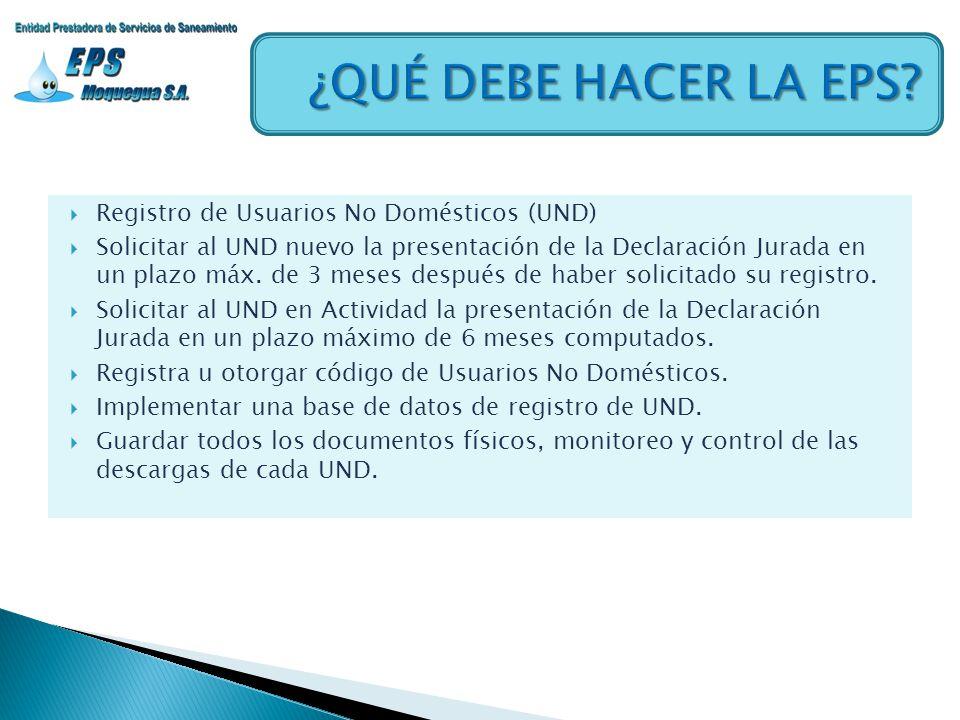 Registro de Usuarios No Domésticos (UND) Solicitar al UND nuevo la presentación de la Declaración Jurada en un plazo máx. de 3 meses después de haber