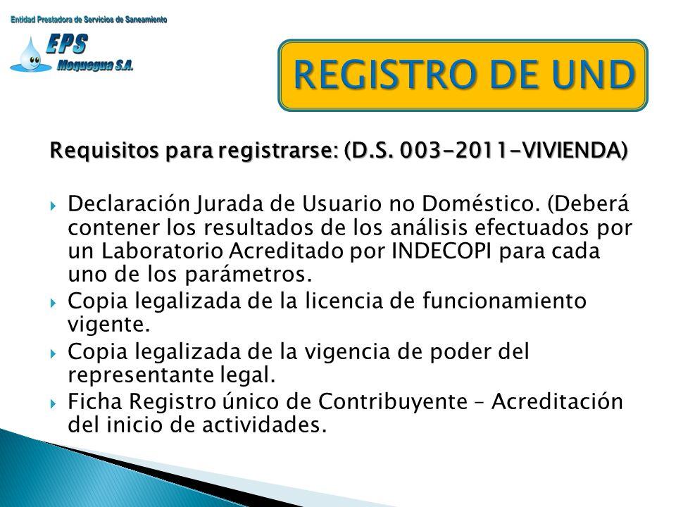 Requisitos para registrarse: (D.S. 003-2011-VIVIENDA) Declaración Jurada de Usuario no Doméstico. (Deberá contener los resultados de los análisis efec