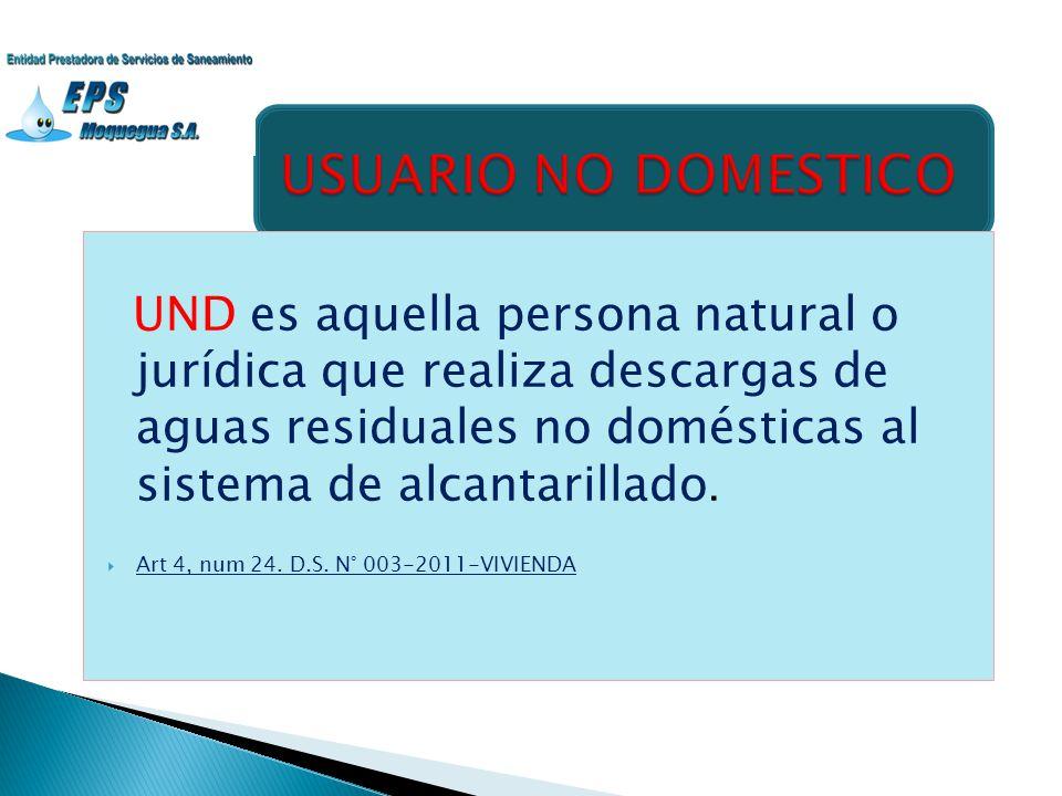UND es aquella persona natural o jurídica que realiza descargas de aguas residuales no domésticas al sistema de alcantarillado. Art 4, num 24. D.S. N°