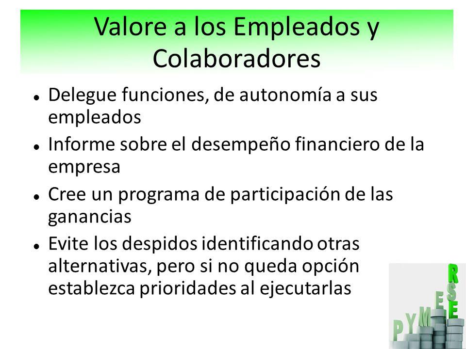 Delegue funciones, de autonomía a sus empleados Informe sobre el desempeño financiero de la empresa Cree un programa de participación de las ganancias