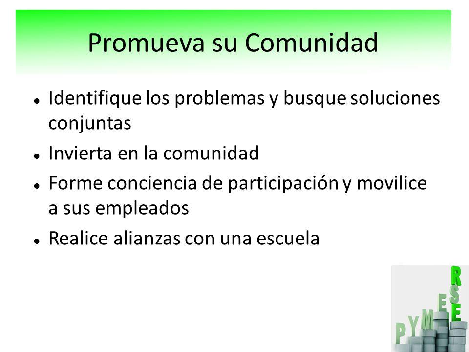 Identifique los problemas y busque soluciones conjuntas Invierta en la comunidad Forme conciencia de participación y movilice a sus empleados Realice alianzas con una escuela Promueva su Comunidad