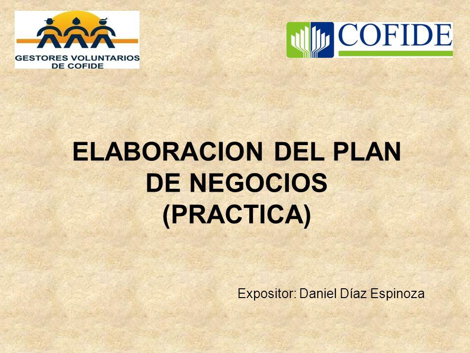 ELABORACION DEL PLAN DE NEGOCIOS (PRACTICA) Expositor: Daniel Díaz Espinoza