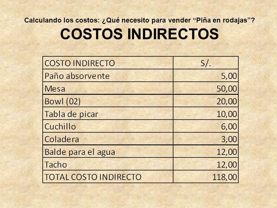 COSTOS INDIRECTOS Calculando los costos: ¿Qué necesito para vender Piña en rodajas?