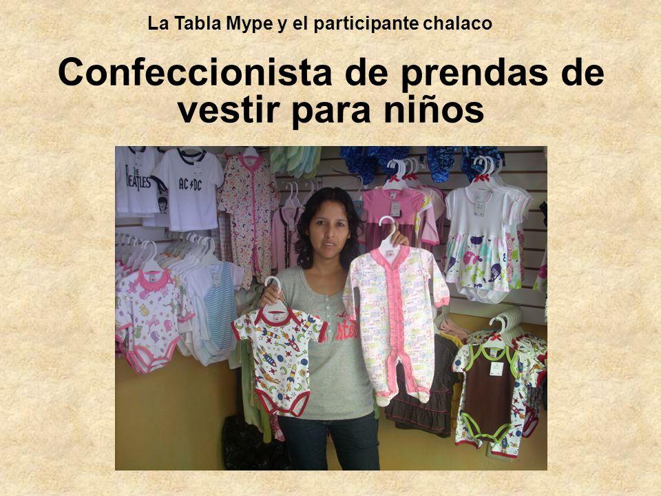 Confeccionista de prendas de vestir para niños La Tabla Mype y el participante chalaco