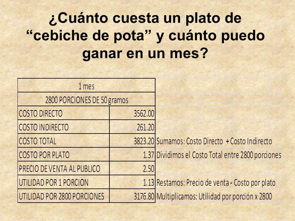 ¿Cuánto cuesta un plato de cebiche de pota y cuánto puedo ganar en un mes?