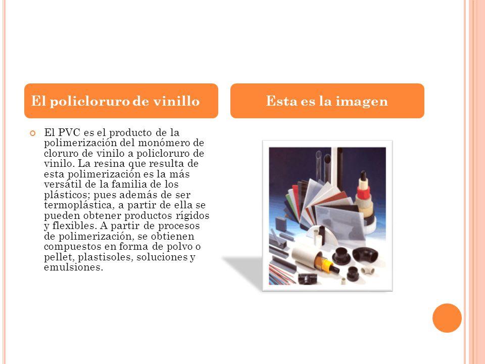 El PVC es el producto de la polimerización del monómero de cloruro de vinilo a policloruro de vinilo. La resina que resulta de esta polimerización es