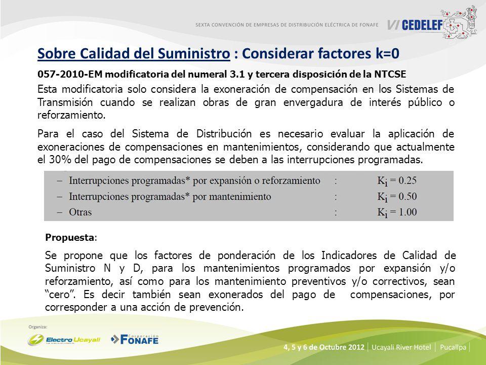 057-2010-EM modificatoria del numeral 3.1 y tercera disposición de la NTCSE Propuesta: Se propone que los factores de ponderación de los Indicadores d