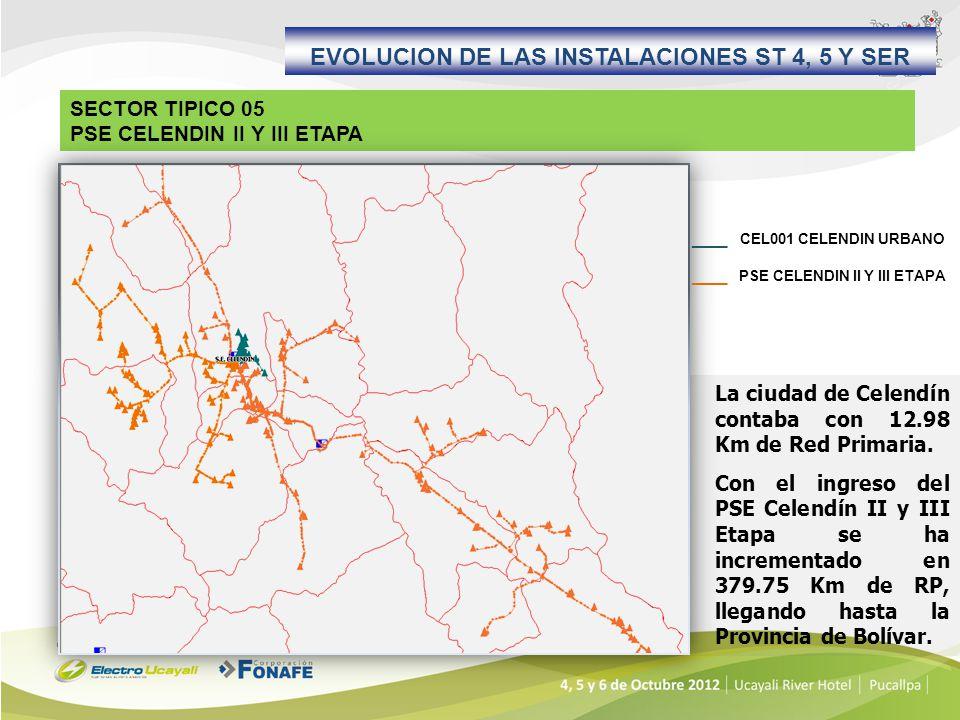 EVOLUCION DE LAS INSTALACIONES ST 4, 5 Y SER La ciudad de Celendín contaba con 12.98 Km de Red Primaria. Con el ingreso del PSE Celendín II y III Etap