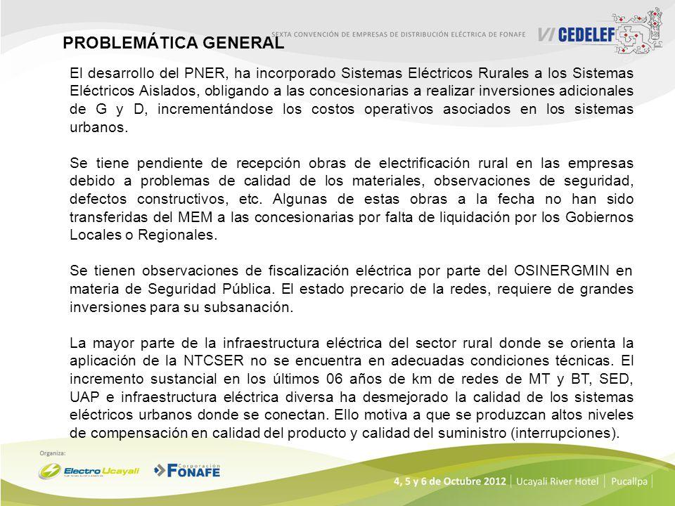 El desarrollo del PNER, ha incorporado Sistemas Eléctricos Rurales a los Sistemas Eléctricos Aislados, obligando a las concesionarias a realizar inver