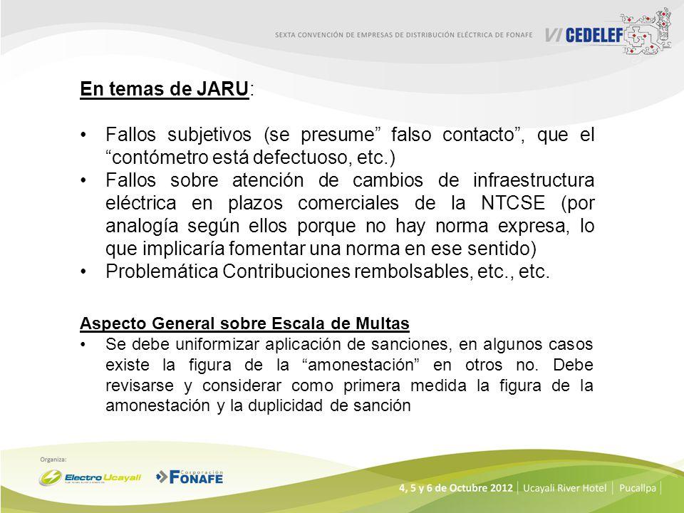 En temas de JARU: Fallos subjetivos (se presume falso contacto, que el contómetro está defectuoso, etc.) Fallos sobre atención de cambios de infraestr
