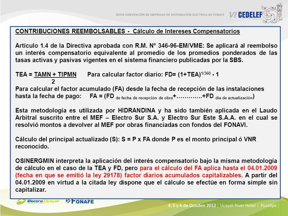 CONTRIBUCIONES REEMBOLSABLES - Cálculo de Intereses Compensatorios Artículo 1.4 de la Directiva aprobada con R.M. N° 346-96-EM/VME: Se aplicará al ree