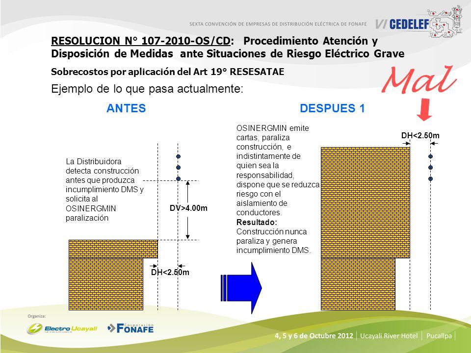 RESOLUCION N° 107-2010-OS/CD: Procedimiento Atención y Disposición de Medidas ante Situaciones de Riesgo Eléctrico Grave Sobrecostos por aplicación de