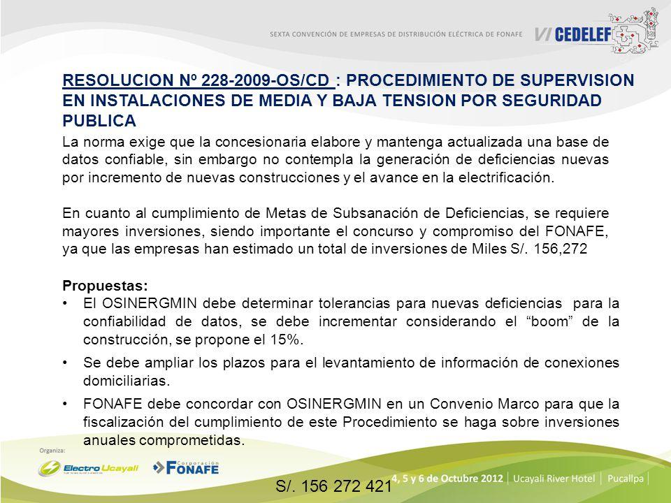 RESOLUCION Nº 228-2009-OS/CD : PROCEDIMIENTO DE SUPERVISION EN INSTALACIONES DE MEDIA Y BAJA TENSION POR SEGURIDAD PUBLICA Propuestas: El OSINERGMIN d