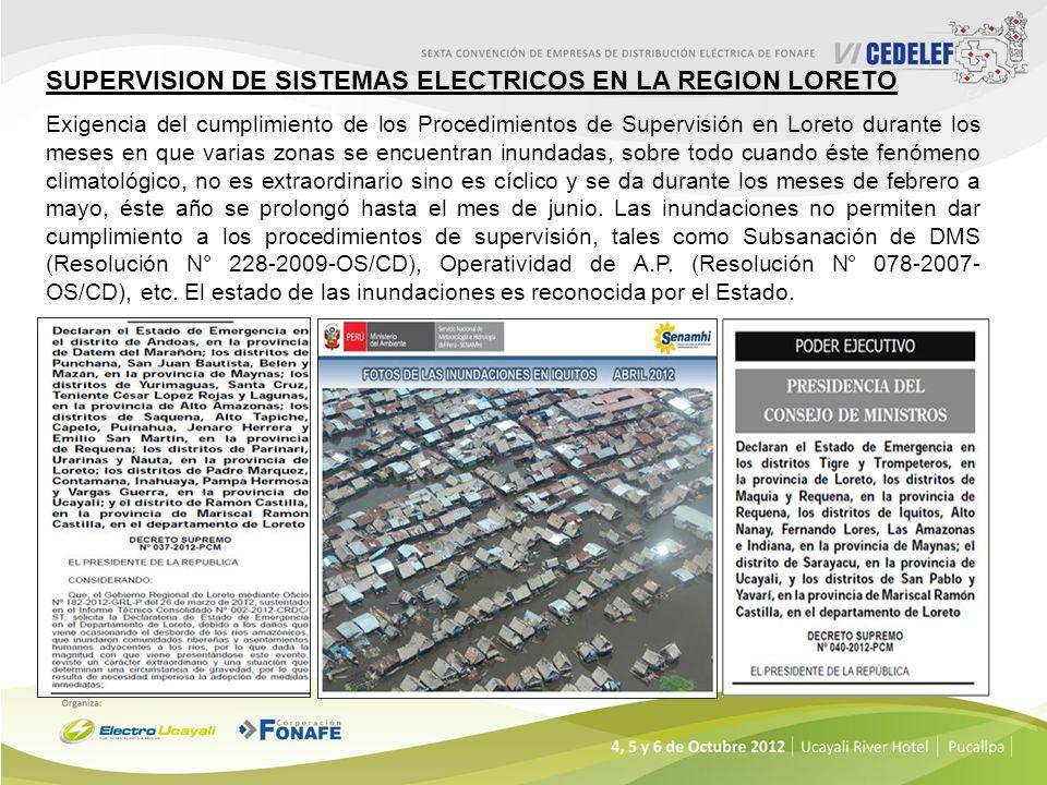 SUPERVISION DE SISTEMAS ELECTRICOS EN LA REGION LORETO Exigencia del cumplimiento de los Procedimientos de Supervisión en Loreto durante los meses en