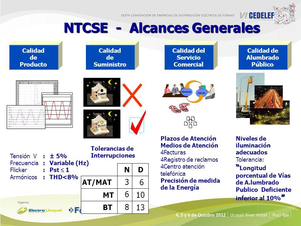 6 AT/MAT MT BT BT N 3 6 8 10 6 13 D NTCSE - Alcances Generales Calidad de Producto Calidad de Suministro Calidad del Servicio Comercial Calidad de Alu