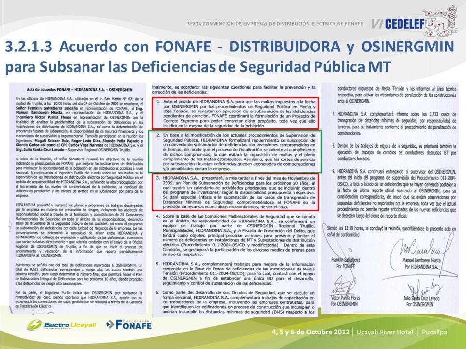 3.2.1.3 Acuerdo con FONAFE - DISTRIBUIDORA y OSINERGMIN para Subsanar las Deficiencias de Seguridad Pública MT