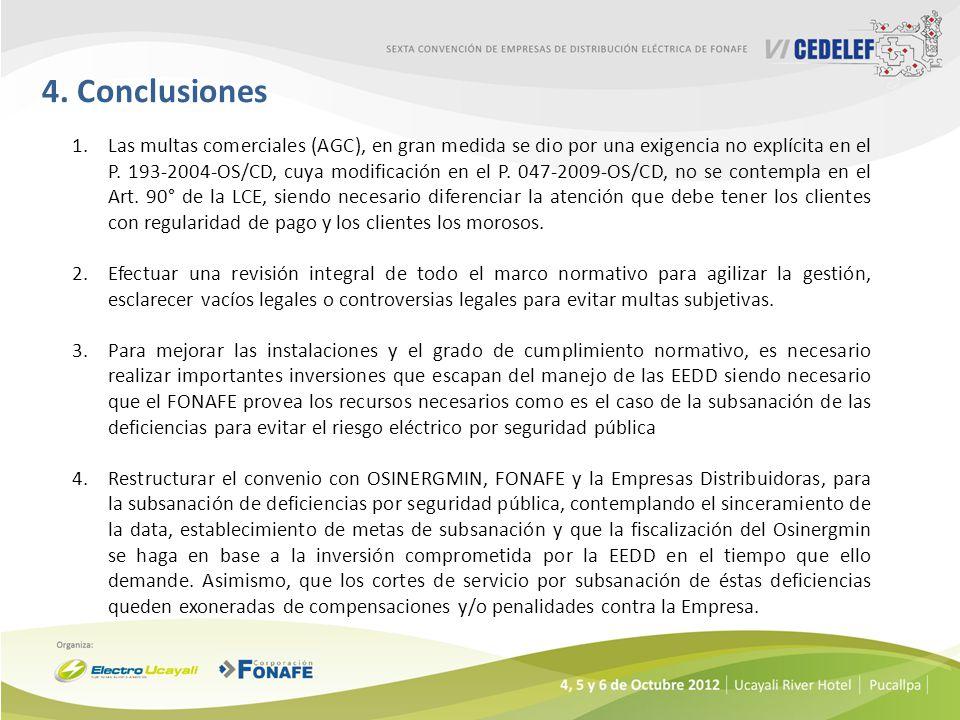 4. Conclusiones 1.Las multas comerciales (AGC), en gran medida se dio por una exigencia no explícita en el P. 193-2004-OS/CD, cuya modificación en el