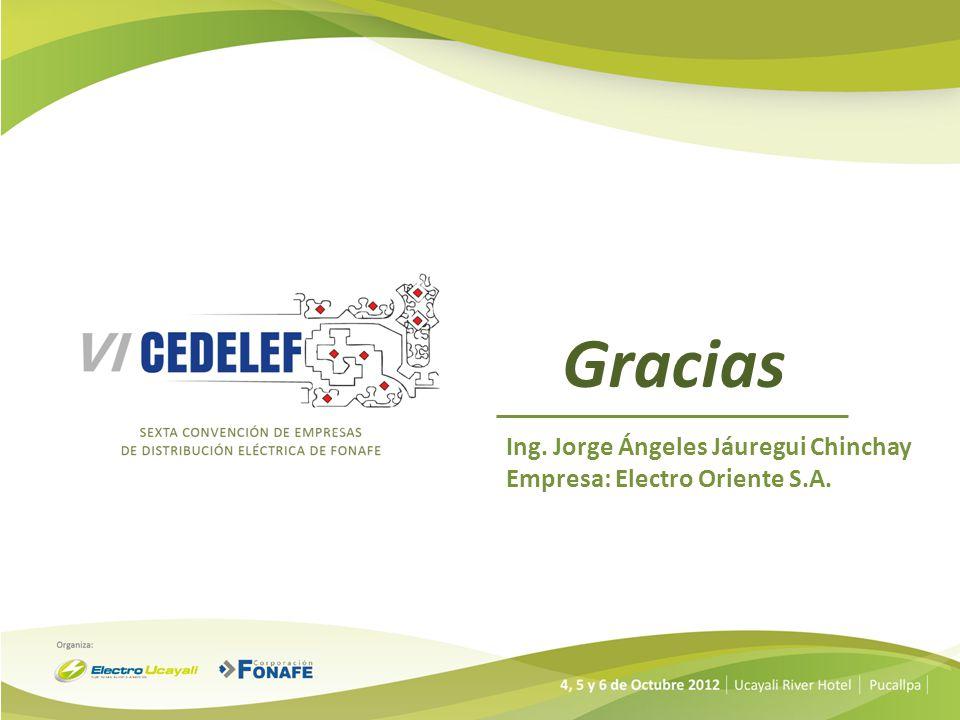 Gracias Ing. Jorge Ángeles Jáuregui Chinchay Empresa: Electro Oriente S.A.