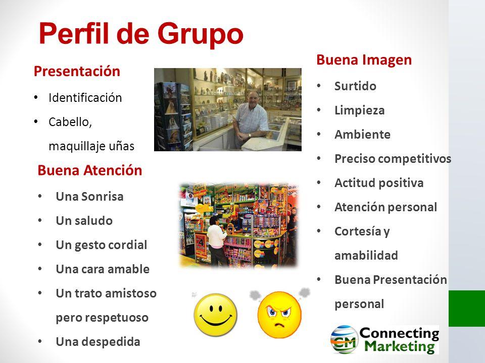 Perfil de Grupo Presentación Identificación Cabello, maquillaje uñas Buena Atención Una Sonrisa Un saludo Un gesto cordial Una cara amable Un trato am