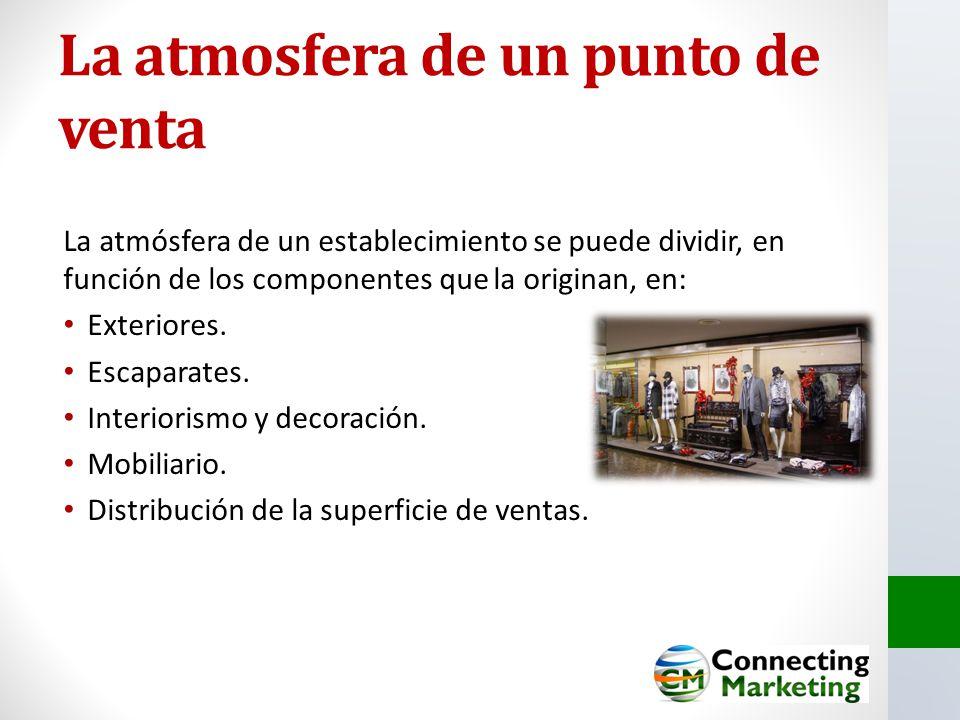 La atmosfera de un punto de venta La atmósfera de un establecimiento se puede dividir, en función de los componentes que la originan, en: Exteriores.