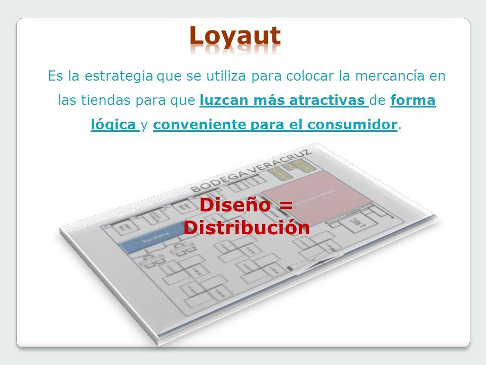 Diseño = Distribución Es la estrategia que se utiliza para colocar la mercancía en las tiendas para que luzcan más atractivas de forma lógica y conven