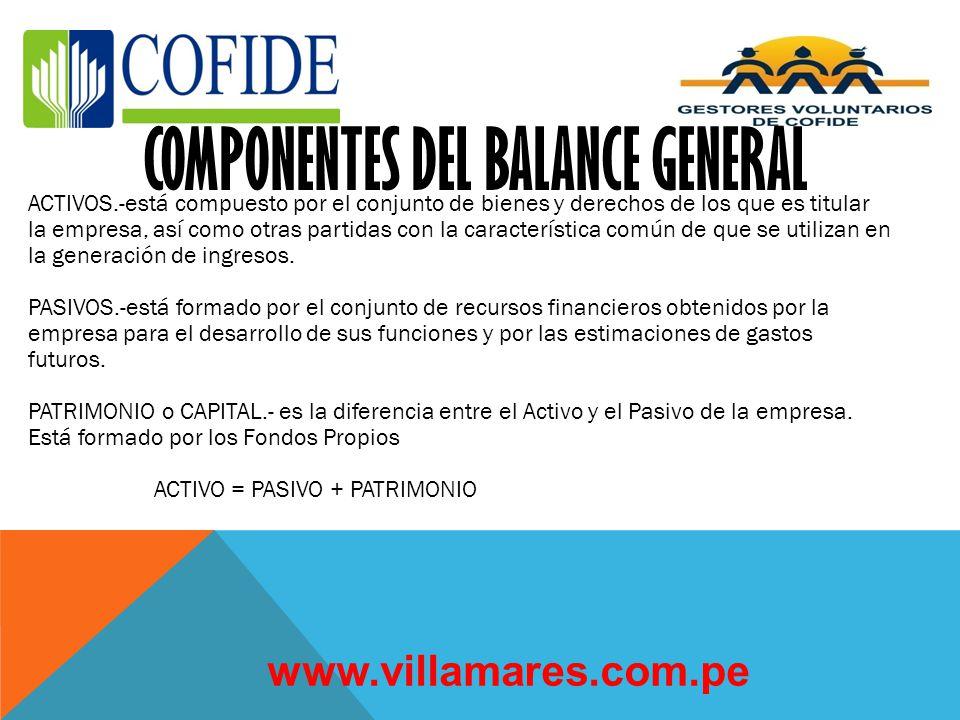 El propósito del Balance General es mostrar la posición financiera de una empresa o negocio a una fecha determinada. El balance general comprende una
