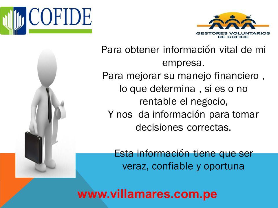 PARA QUE SIRVE LA CONTABILIDAD? www.villamares.com.pe