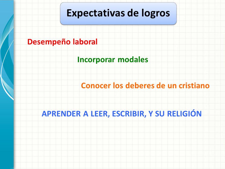 Expectativas de logros Desempeño laboral Incorporar modales Conocer los deberes de un cristiano APRENDER A LEER, ESCRIBIR, Y SU RELIGIÓN