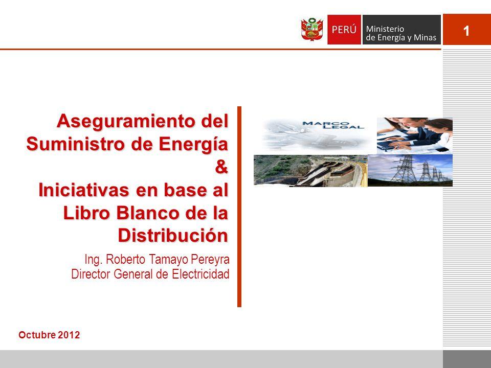 1 Aseguramiento del Suministro de Energía & Iniciativas en base al Libro Blanco de la Distribución Octubre 2012 Ing. Roberto Tamayo Pereyra Director G