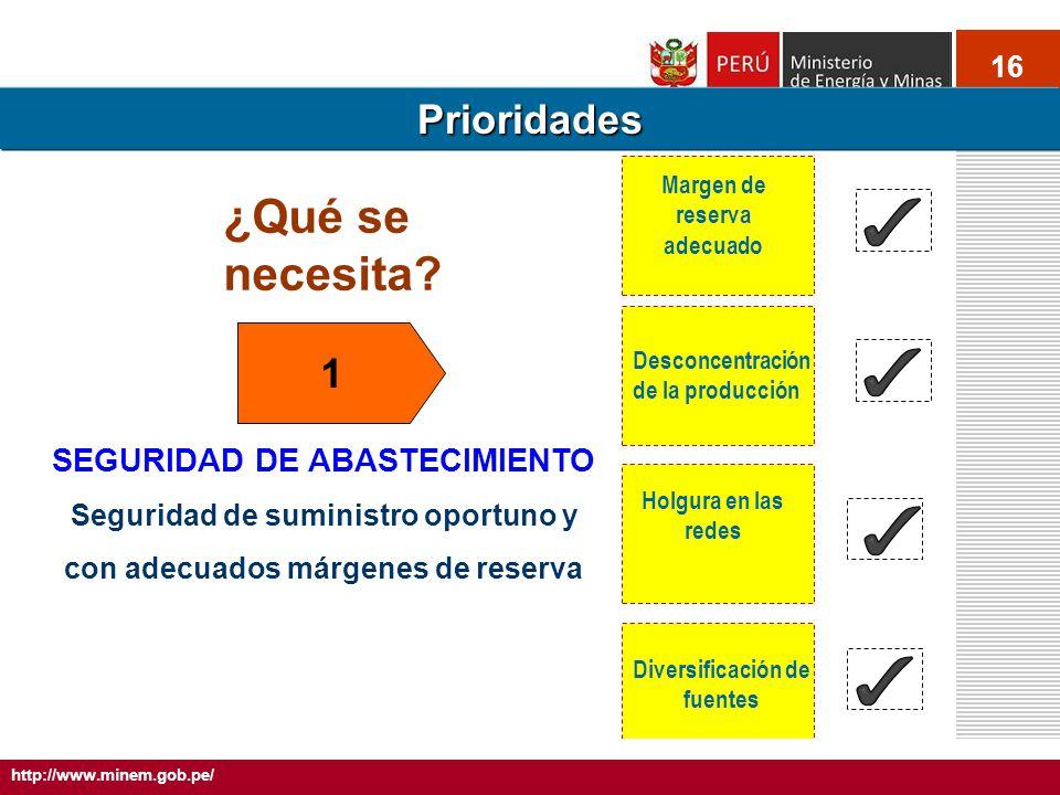 16 SEGURIDAD DE ABASTECIMIENTO Seguridad de suministro oportuno y con adecuados márgenes de reserva 5.