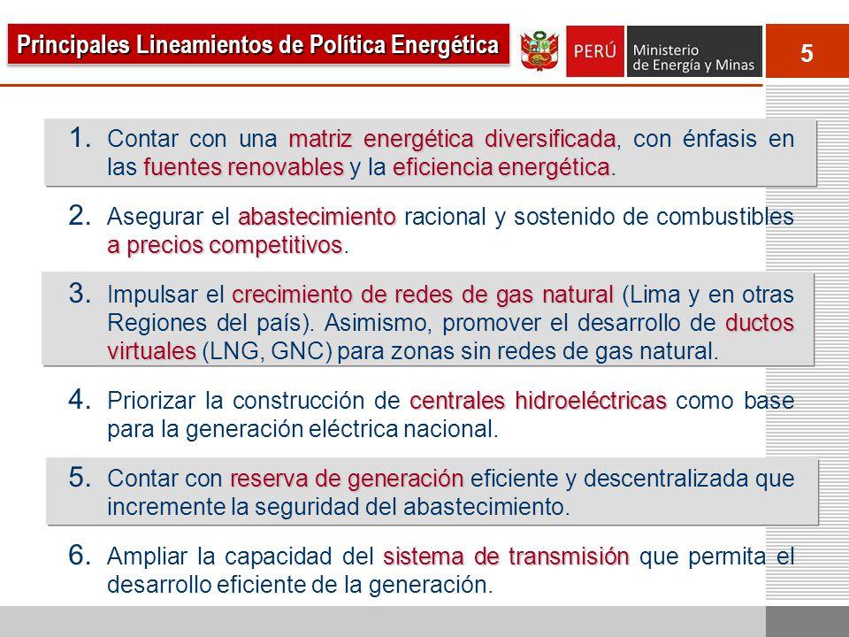 26 hidroeléctricas gasoductos Se ha incrementado la dependencia del GN y de un solo gasoducto (Camisea-Lima).