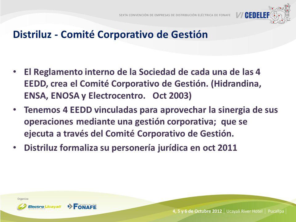 Distriluz - Comité Corporativo de Gestión El Reglamento interno de la Sociedad de cada una de las 4 EEDD, crea el Comité Corporativo de Gestión.