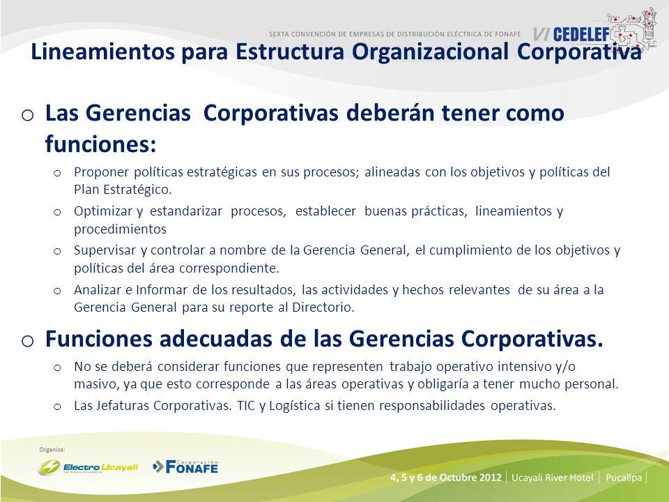 Lineamientos para Estructura Organizacional Corporativa o Las Gerencias Corporativas deberán tener como funciones: o Proponer políticas estratégicas en sus procesos; alineadas con los objetivos y políticas del Plan Estratégico.