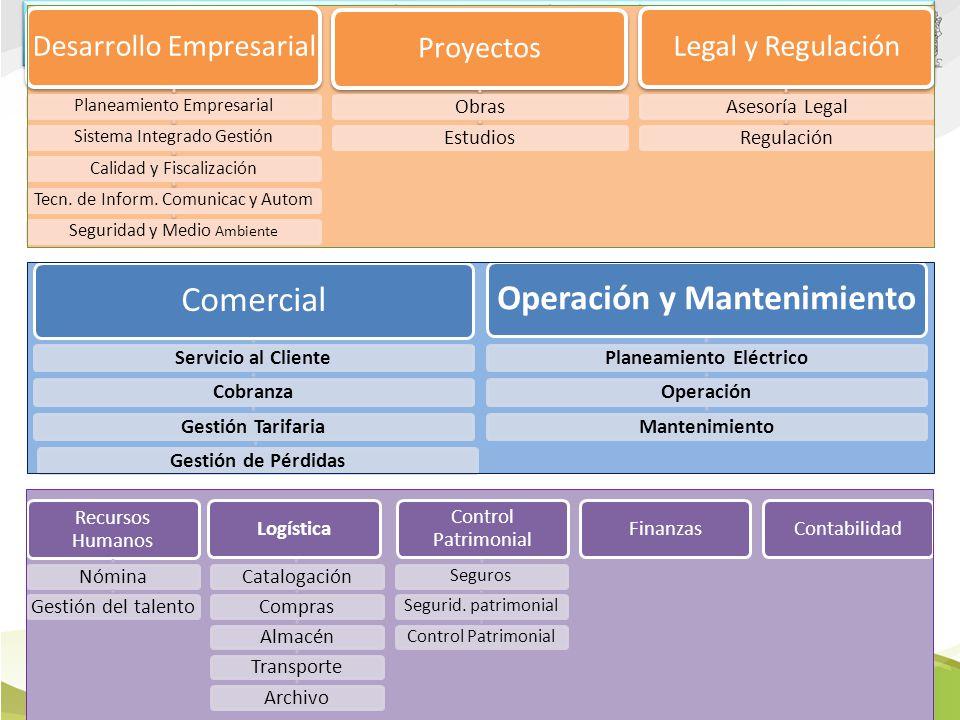 2 Procesos optimizados, estandarizados y Estructura Organizacional basada en procesos Desarrollo Empresarial Planeamiento EmpresarialSistema Integrado GestiónCalidad y FiscalizaciónTecn.