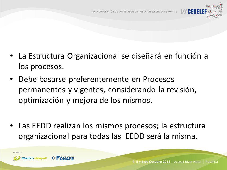 La Estructura Organizacional se diseñará en función a los procesos.