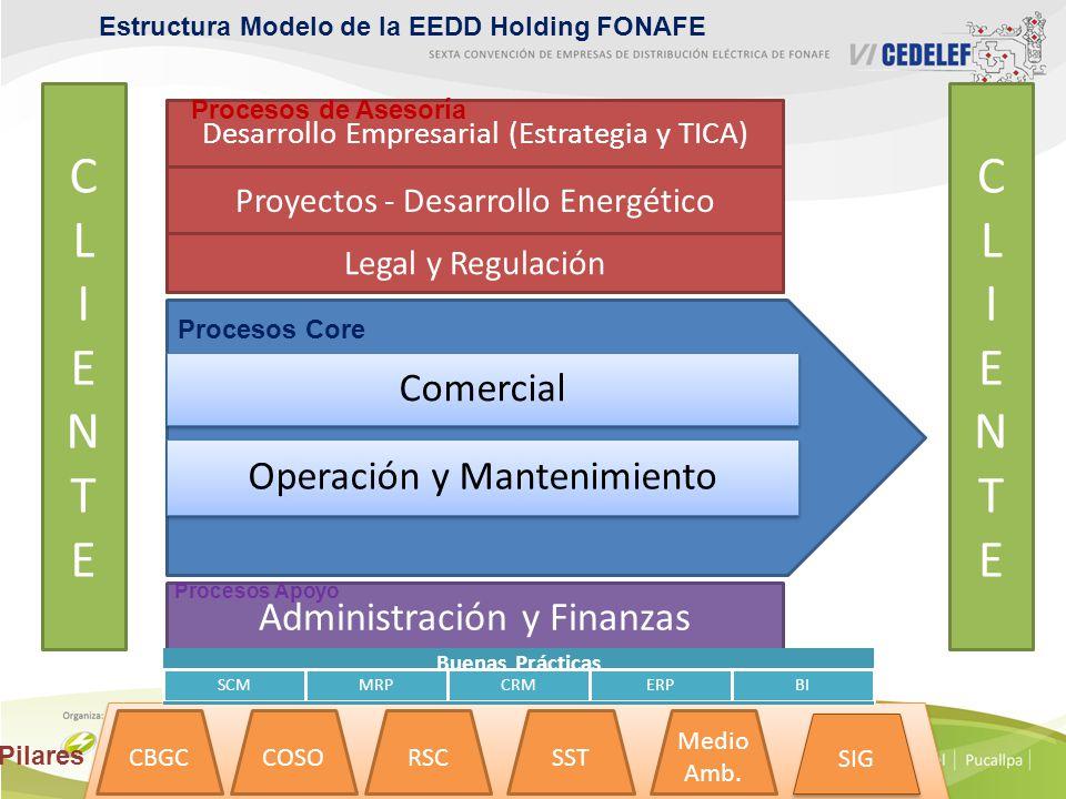 Estructura Modelo de la EEDD Holding FONAFE Desarrollo Empresarial (Estrategia y TICA) Proyectos - Desarrollo Energético Legal y Regulación Administración y Finanzas CLIENTECLIENTE CLIENTECLIENTE CBGC COSO RSCSST Medio Amb.