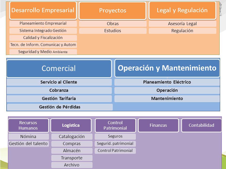 Estructura Organizacional basada en procesos Desarrollo Empresarial Planeamiento EmpresarialSistema Integrado GestiónCalidad y Fiscalización Tecn.