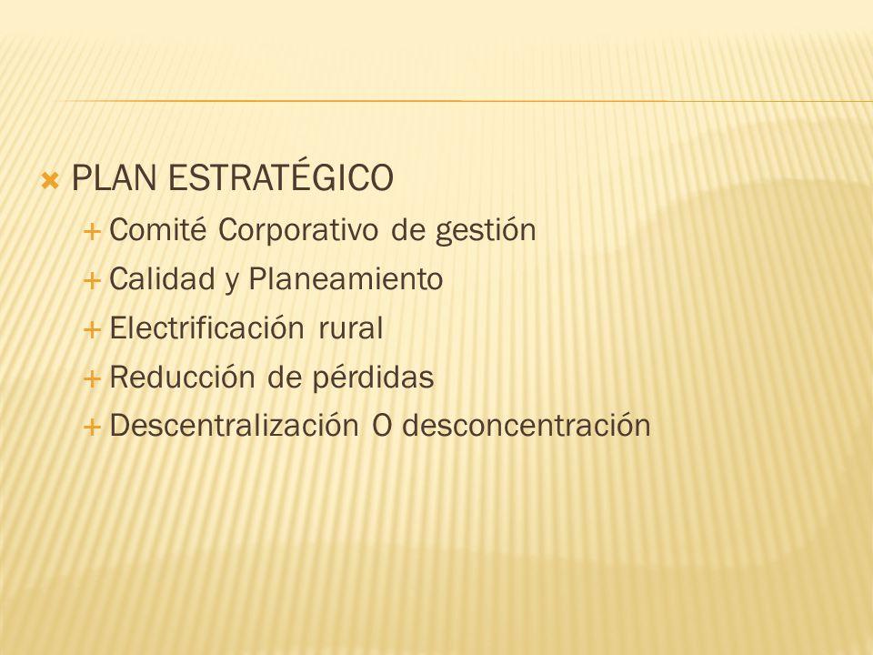 PLAN ESTRATÉGICO Comité Corporativo de gestión Calidad y Planeamiento Electrificación rural Reducción de pérdidas Descentralización O desconcentración