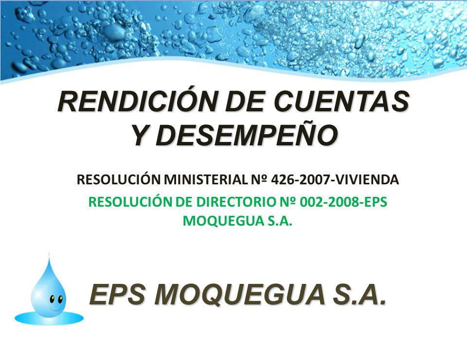RENDICIÓN DE CUENTAS Y DESEMPEÑO RESOLUCIÓN MINISTERIAL Nº 426-2007-VIVIENDA RESOLUCIÓN DE DIRECTORIO Nº 002-2008-EPS MOQUEGUA S.A. EPS MOQUEGUA S.A.