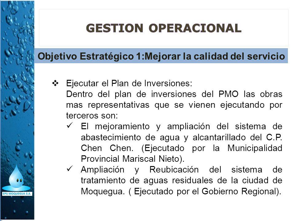 Objetivo Estratégico 1:Mejorar la calidad del servicio Ejecutar el Plan de Inversiones: Dentro del plan de inversiones del PMO las obras mas represent