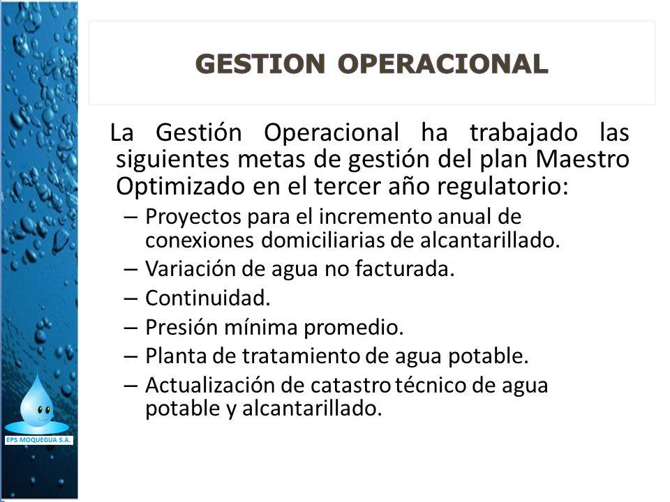 La Gestión Operacional ha trabajado las siguientes metas de gestión del plan Maestro Optimizado en el tercer año regulatorio: – Proyectos para el incr