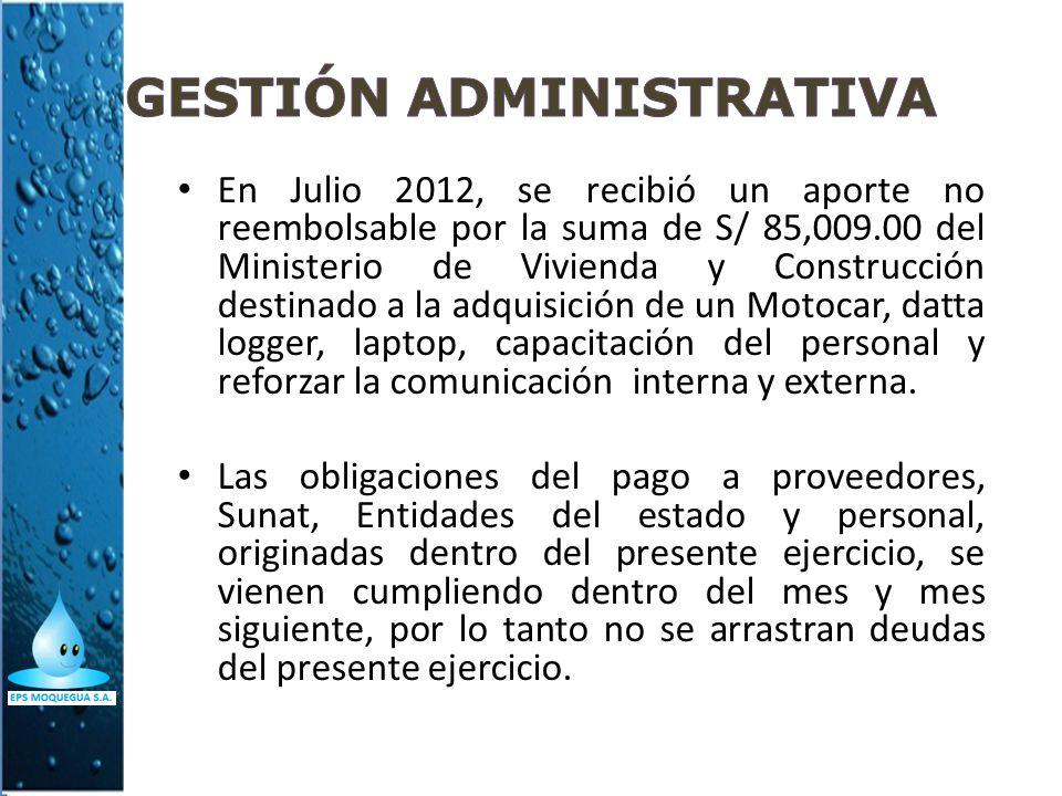 En Julio 2012, se recibió un aporte no reembolsable por la suma de S/ 85,009.00 del Ministerio de Vivienda y Construcción destinado a la adquisición d