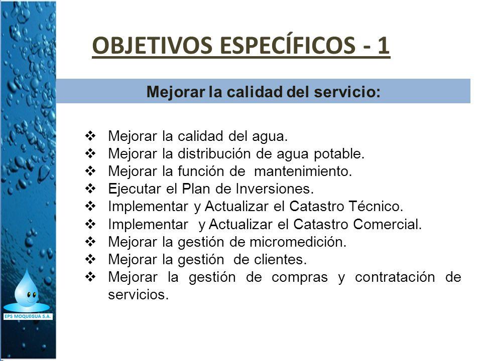 OBJETIVOS ESPECÍFICOS - 1 Mejorar la calidad del servicio: Mejorar la calidad del agua. Mejorar la distribución de agua potable. Mejorar la función de