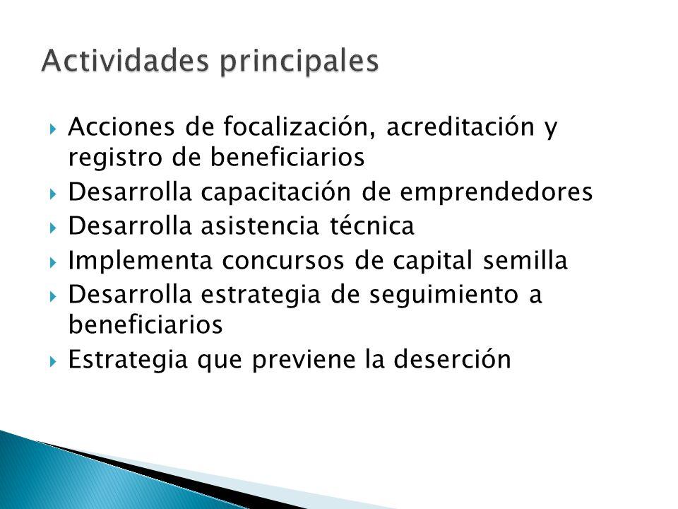 Acciones de focalización, acreditación y registro de beneficiarios Desarrolla capacitación de emprendedores Desarrolla asistencia técnica Implementa c