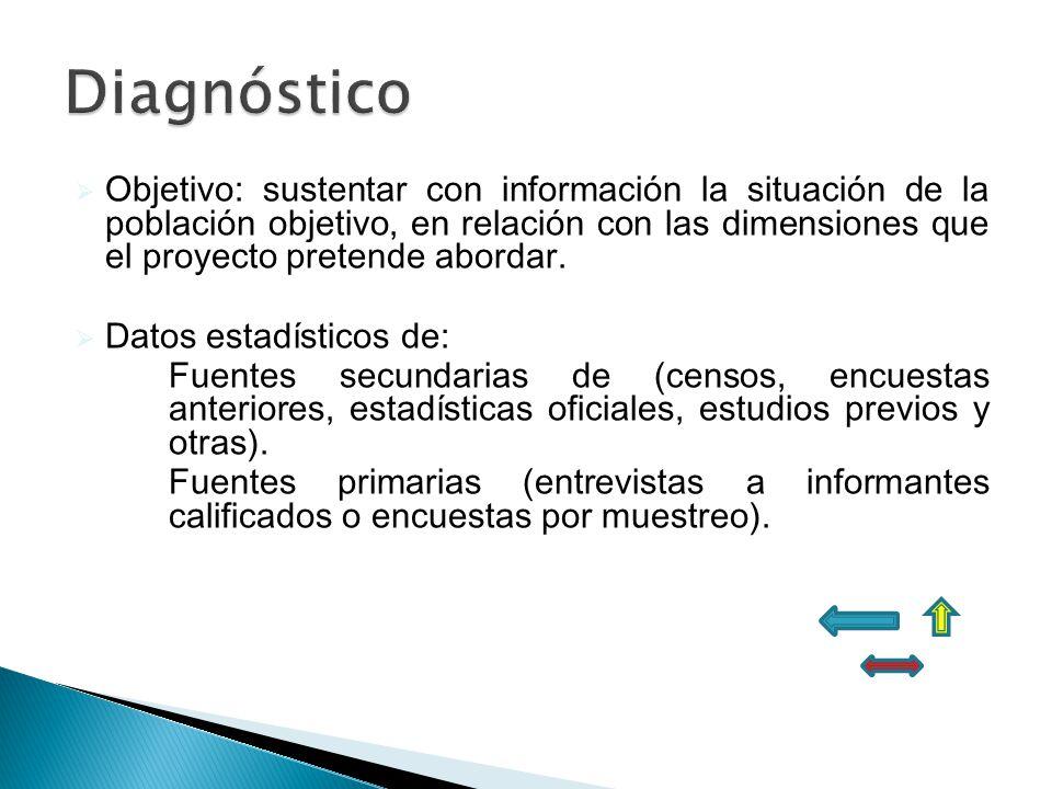 Objetivo: sustentar con información la situación de la población objetivo, en relación con las dimensiones que el proyecto pretende abordar. Datos est