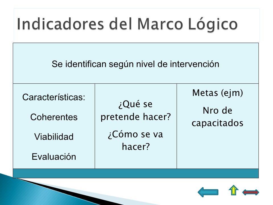 Se identifican según nivel de intervención Características: Coherentes Viabilidad Evaluación ¿Qué se pretende hacer? ¿Cómo se va hacer? Metas (ejm) Nr
