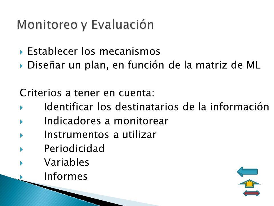 Establecer los mecanismos Diseñar un plan, en función de la matriz de ML Criterios a tener en cuenta: Identificar los destinatarios de la información