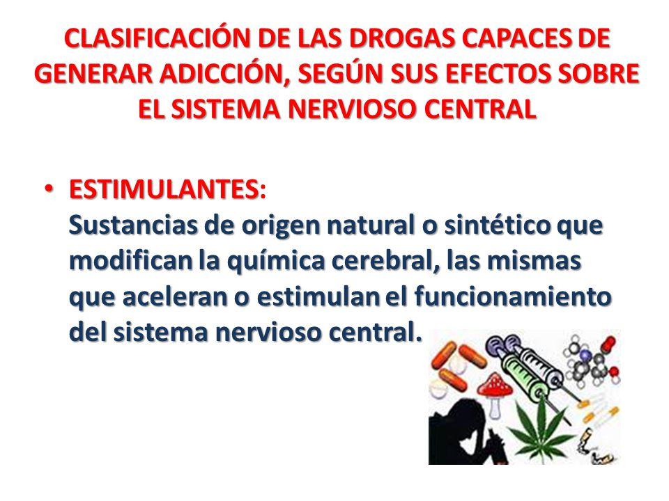 CLASIFICACIÓN DE LAS DROGAS CAPACES DE GENERAR ADICCIÓN, SEGÚN SUS EFECTOS SOBRE EL SISTEMA NERVIOSO CENTRAL ESTIMULANTES Sustancias de origen natural