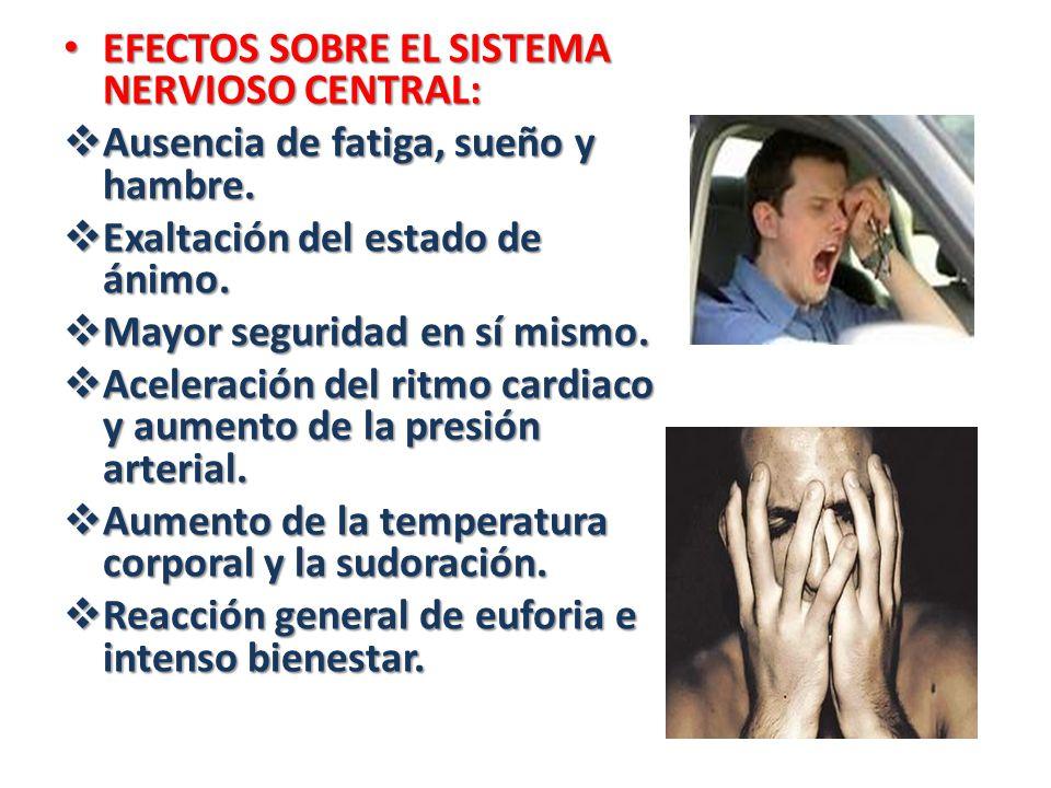 EFECTOS SOBRE EL SISTEMA NERVIOSO CENTRAL: EFECTOS SOBRE EL SISTEMA NERVIOSO CENTRAL: Ausencia de fatiga, sueño y hambre. Ausencia de fatiga, sueño y